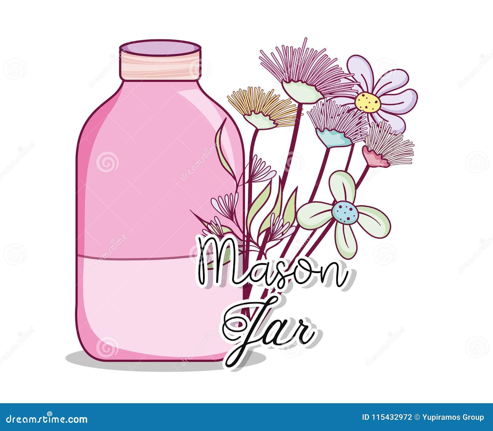 Mason Jar With Flowers Stock Vector Illustration Of Design