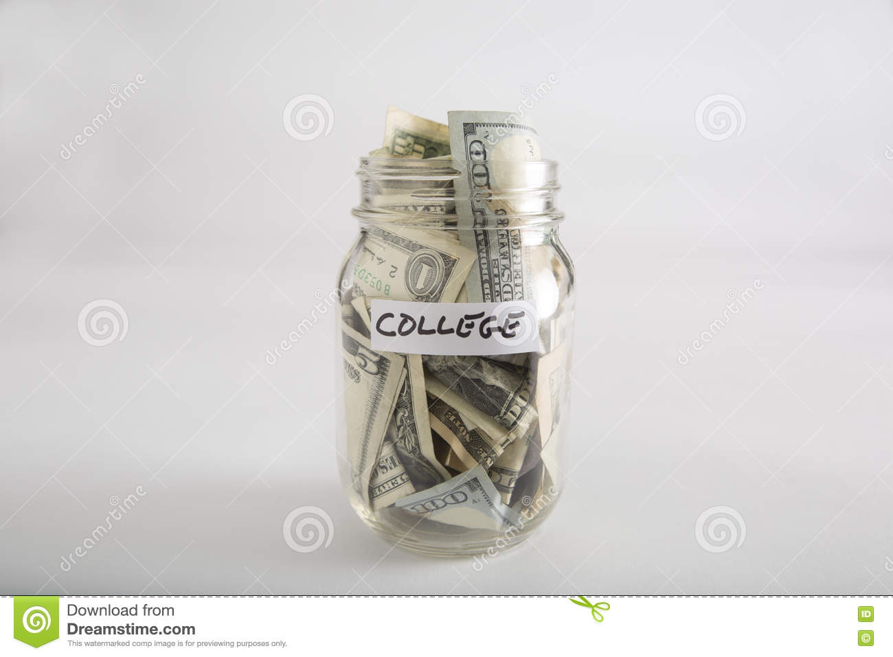 Mason jar with money for college
