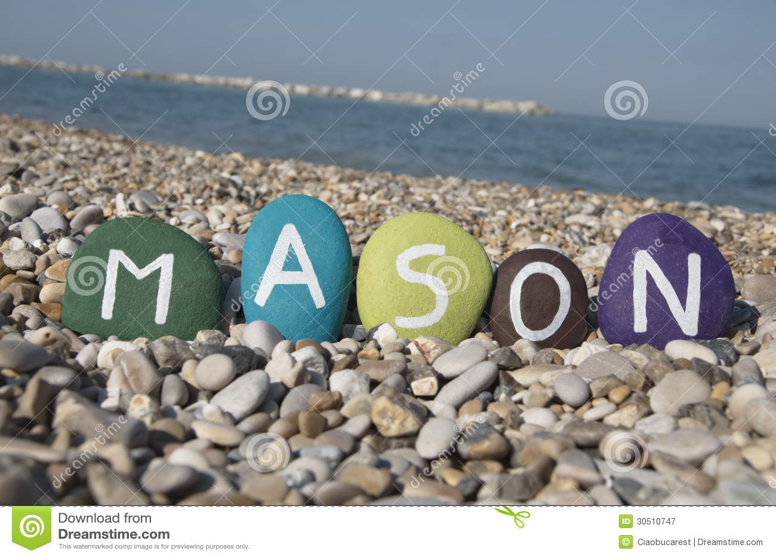 Mason, Male Name On Colourful Stones On Pebbles Stock Image ...