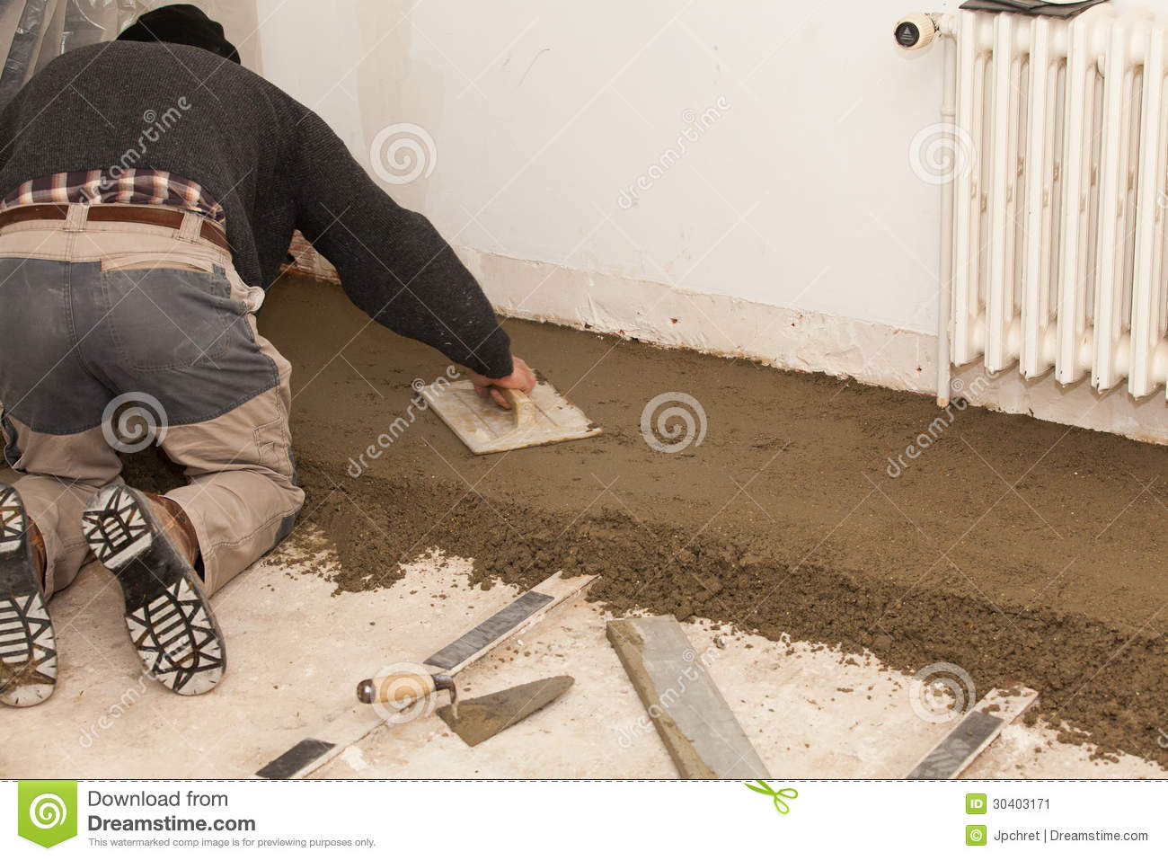 Mason Smooth The Cement Screed Stock Image Image Of