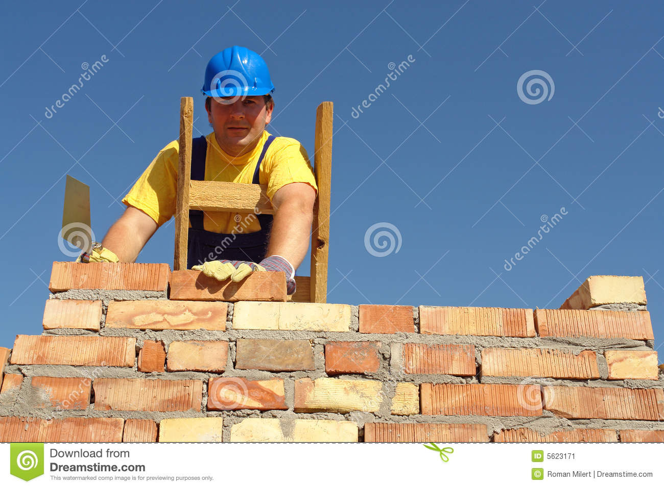 Mason building brick wall standing on wooden ladder.