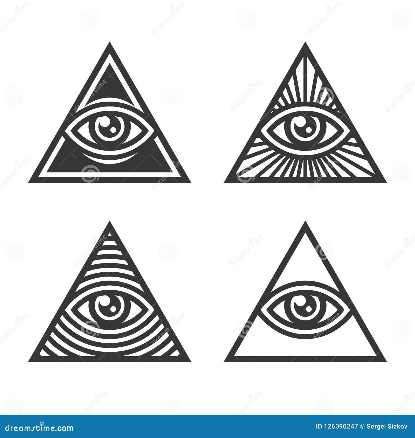 Masonic Illuminati Symbols Eye In Triangle Sign Vector Stock