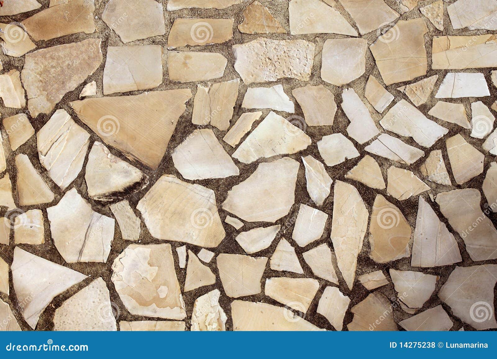 Masonry Rock Stone Tiles Floor On The Park Stock Photo