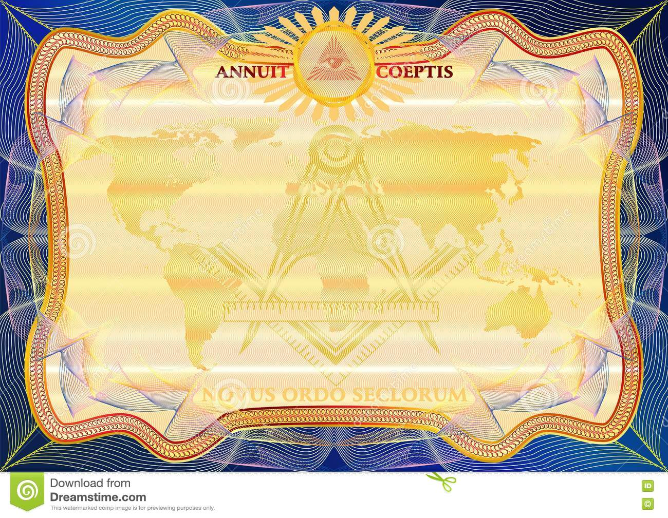 masons certificate diploma template award pattern stock vector