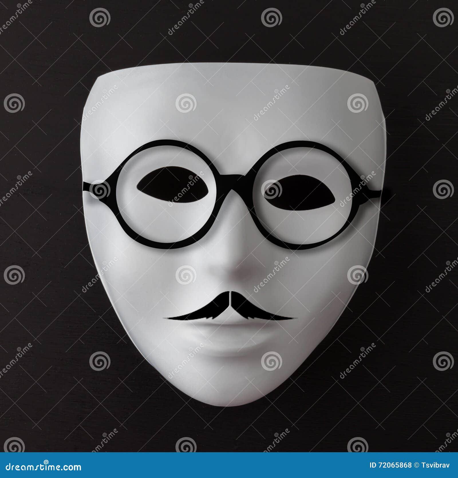 Masque Blanc Sur Le Noir Avec La Moustache Et Les Verres Photo  # Verres Noirs Et Blanc