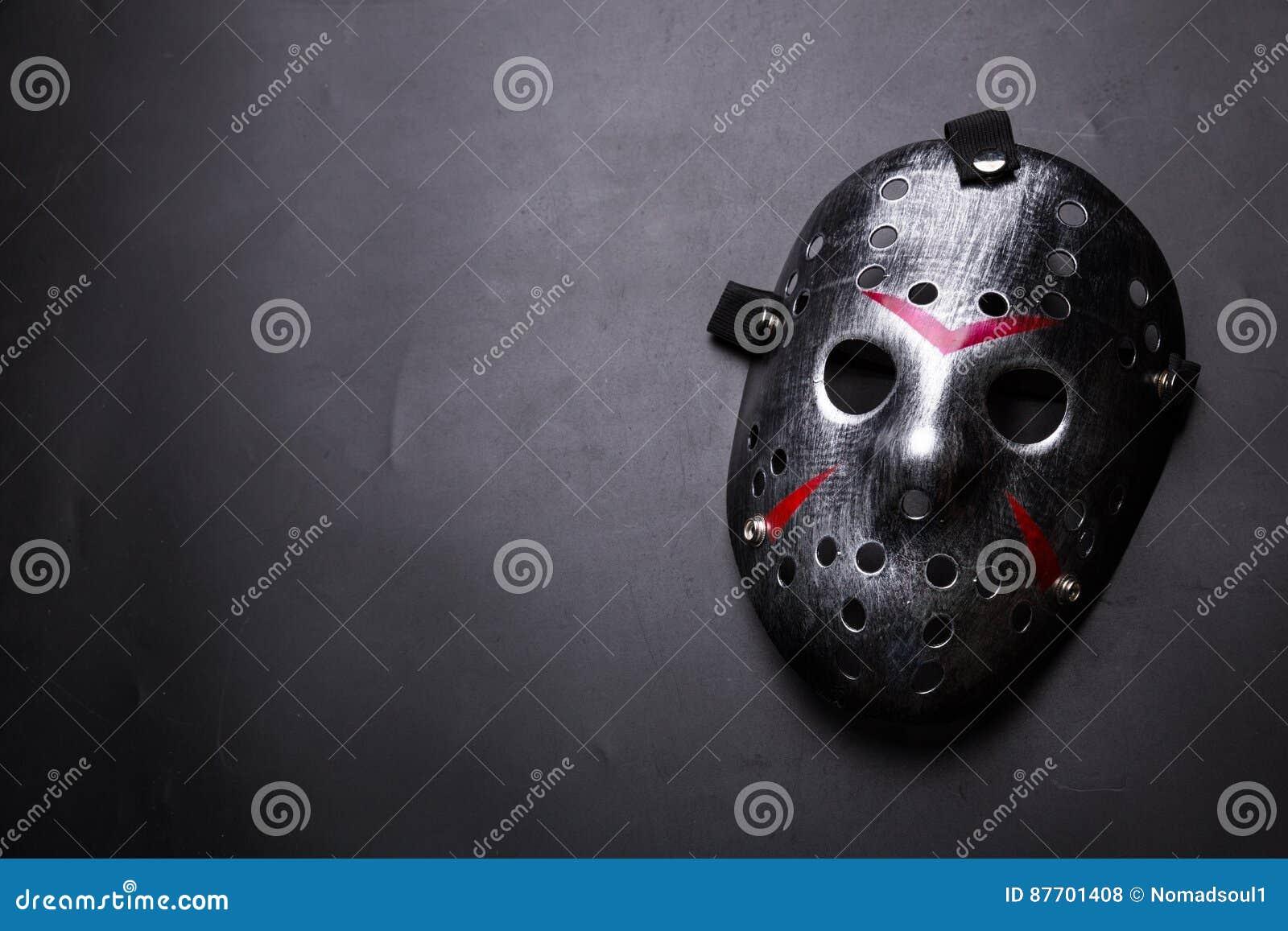 Masque d hockey d assassin en série d isolement sur le noir