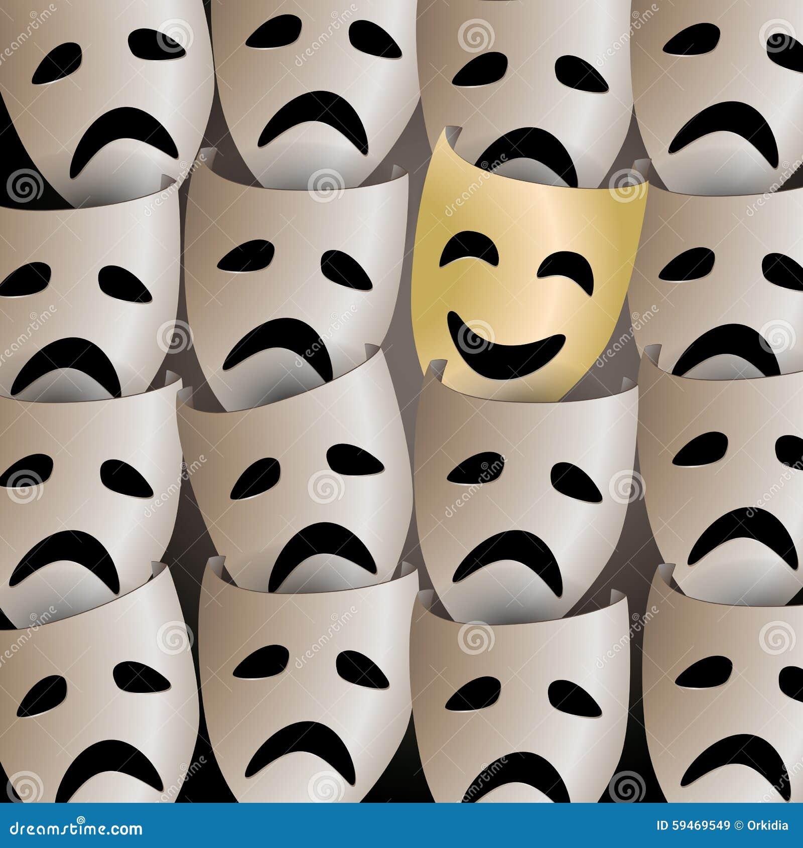 Masque De Sourire De Théâtre Dans Une Foule Des Masques Tristes