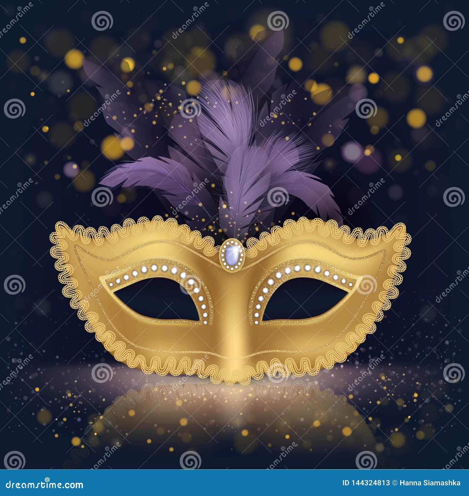 Masque en soie d or de Moitié-visage avec les plumes pourpres
