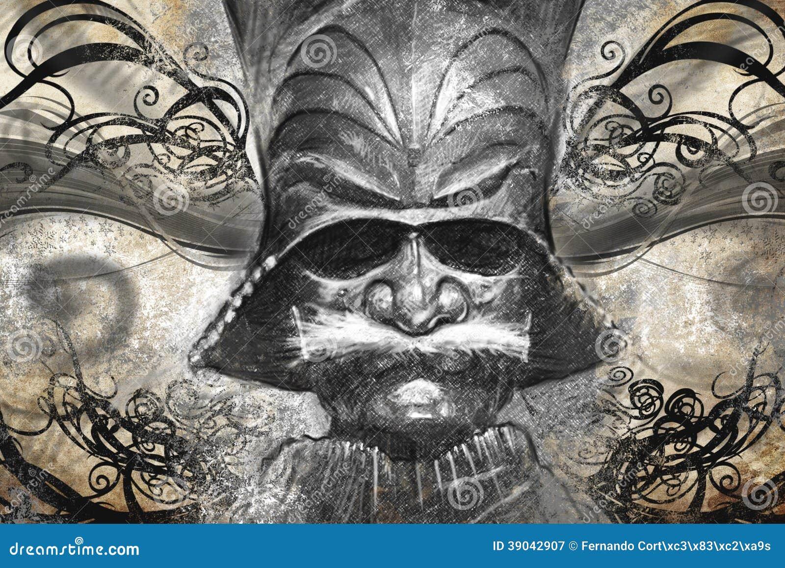 Masque Japonais De Guerrier Illustration De Tatouage Illustration