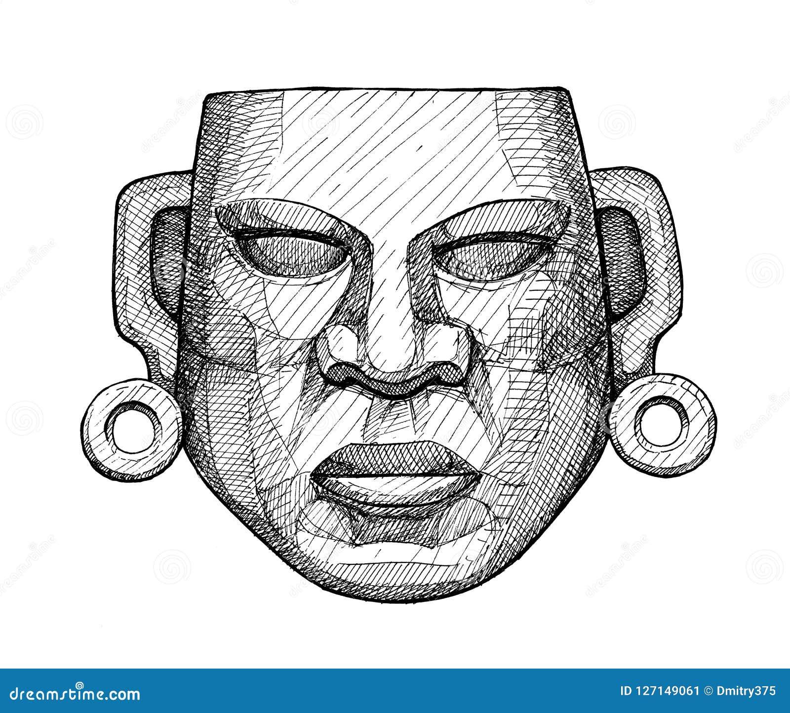 Masque Mexicain De Jade Antique Dessin De Main De Vintage