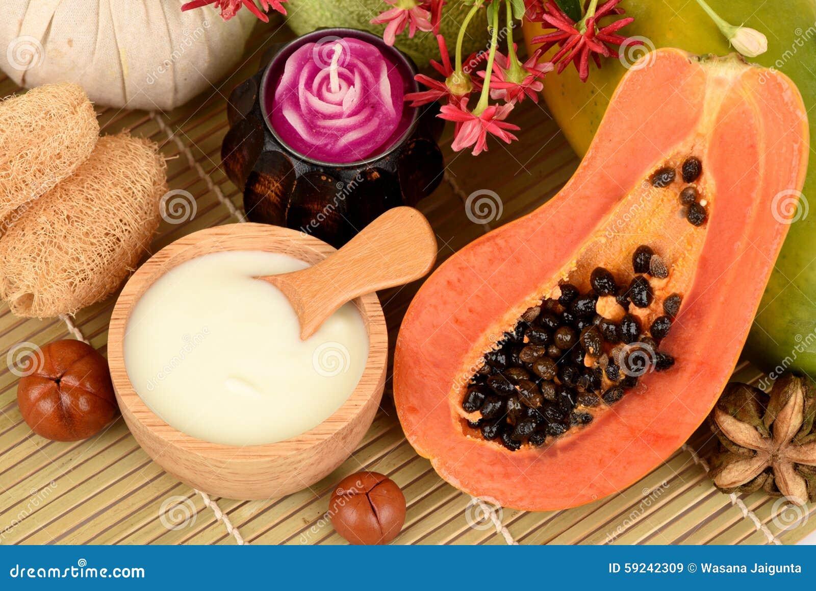Masque protecteur pour le traitement d acné avec la papaye et le yaourt