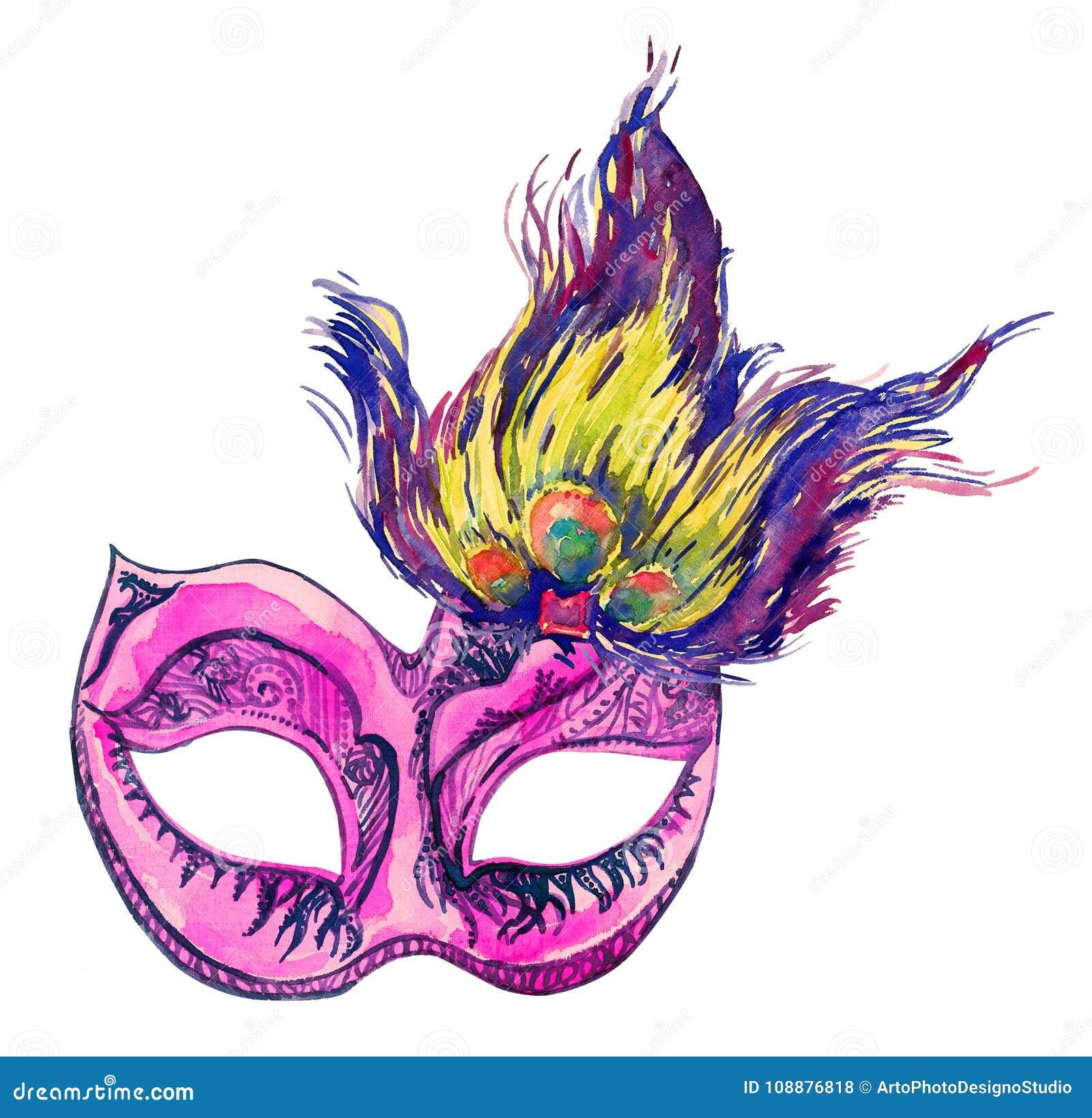 grande variété de modèles sélectionner pour plus récent gros remise Masque Rose De Carnaval Avec Des Plumes De Paon Illustration ...