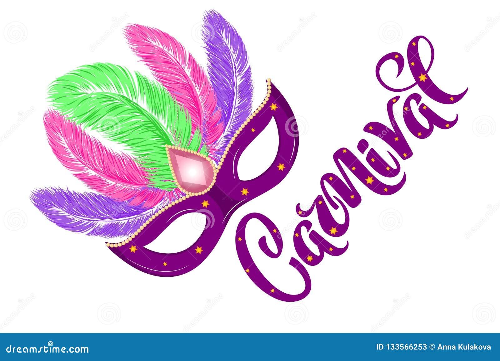 Masque tiré par la main de carnaval de vecteur avec des plumes et carnaval d inscription pour le Brésil carnaval, Mardi Gras, fes