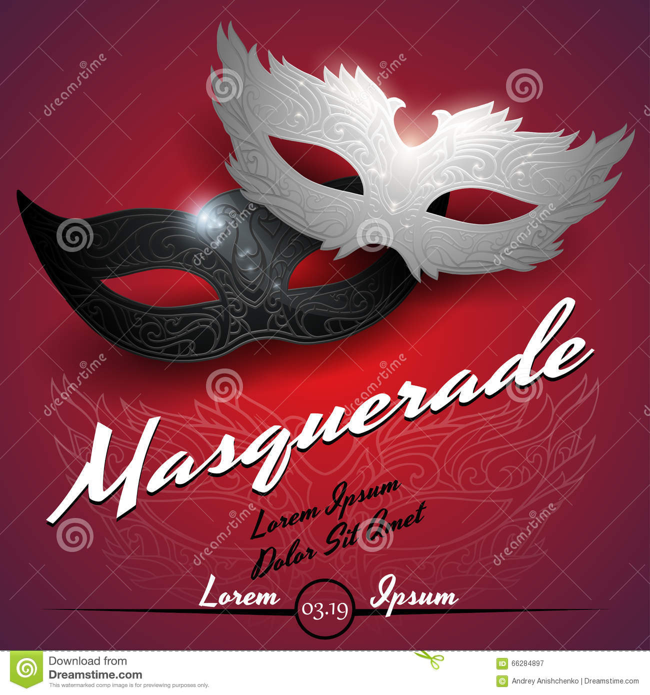 Masquerade Ball Party Invitation Poster Stock Vector - Illustration ...