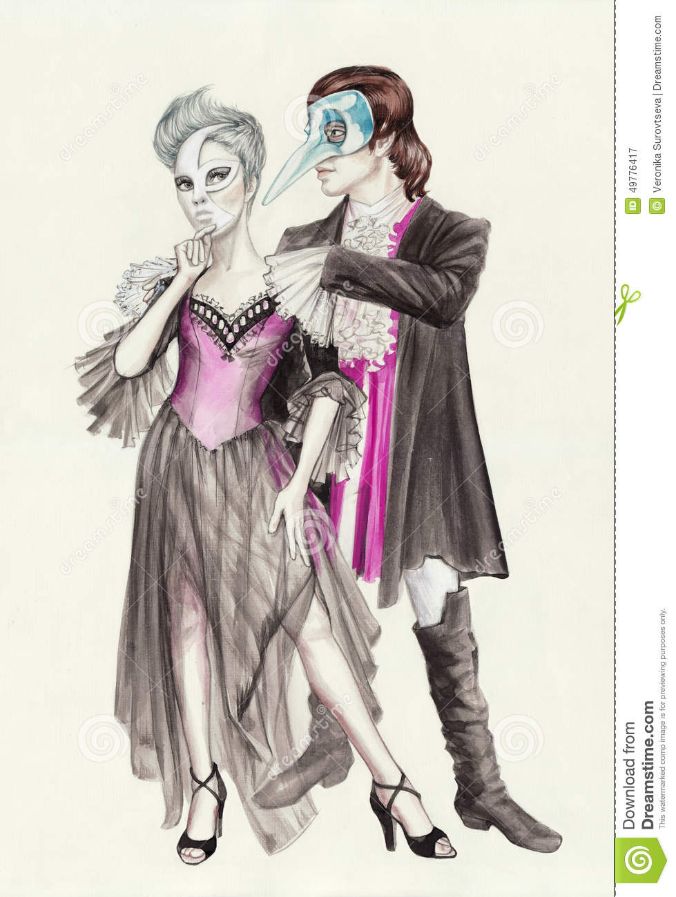 Masquerade couple wearing fancy costumes and venetian masks. Original watercolor painting. & Masquerade couple stock illustration. Illustration of handsome ...