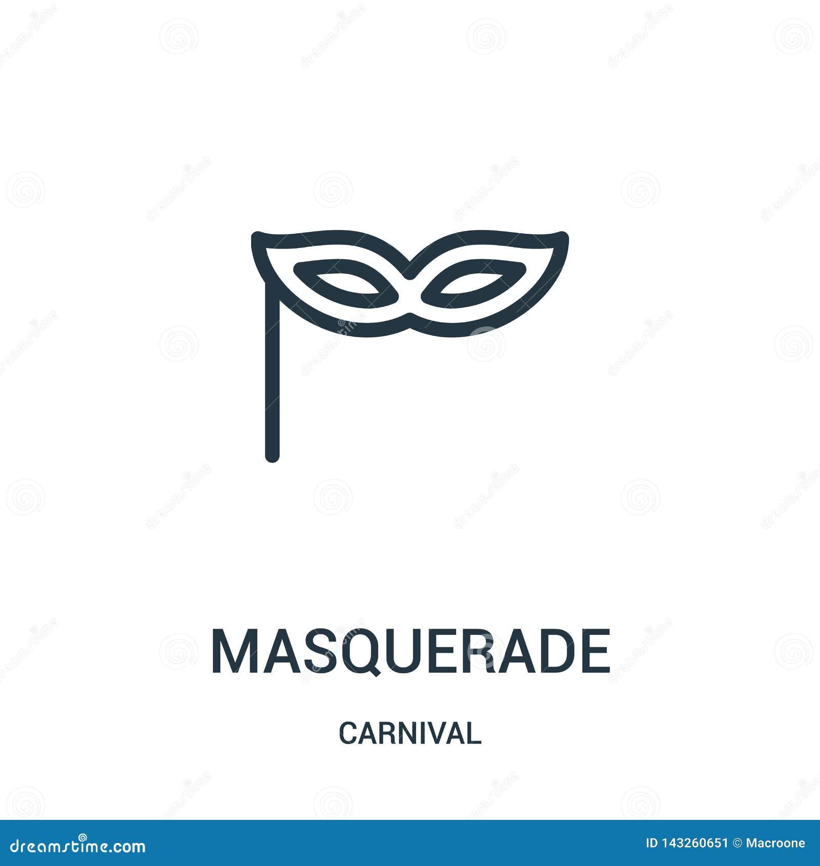 masquerade icon vector from carnival collection. Thin line masquerade outline icon vector illustration
