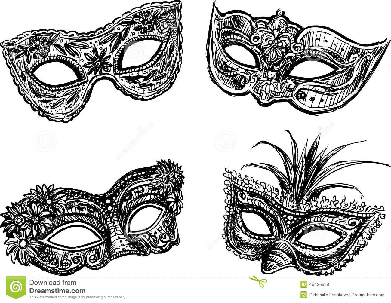 Black And White Masquerade Masks Drawings