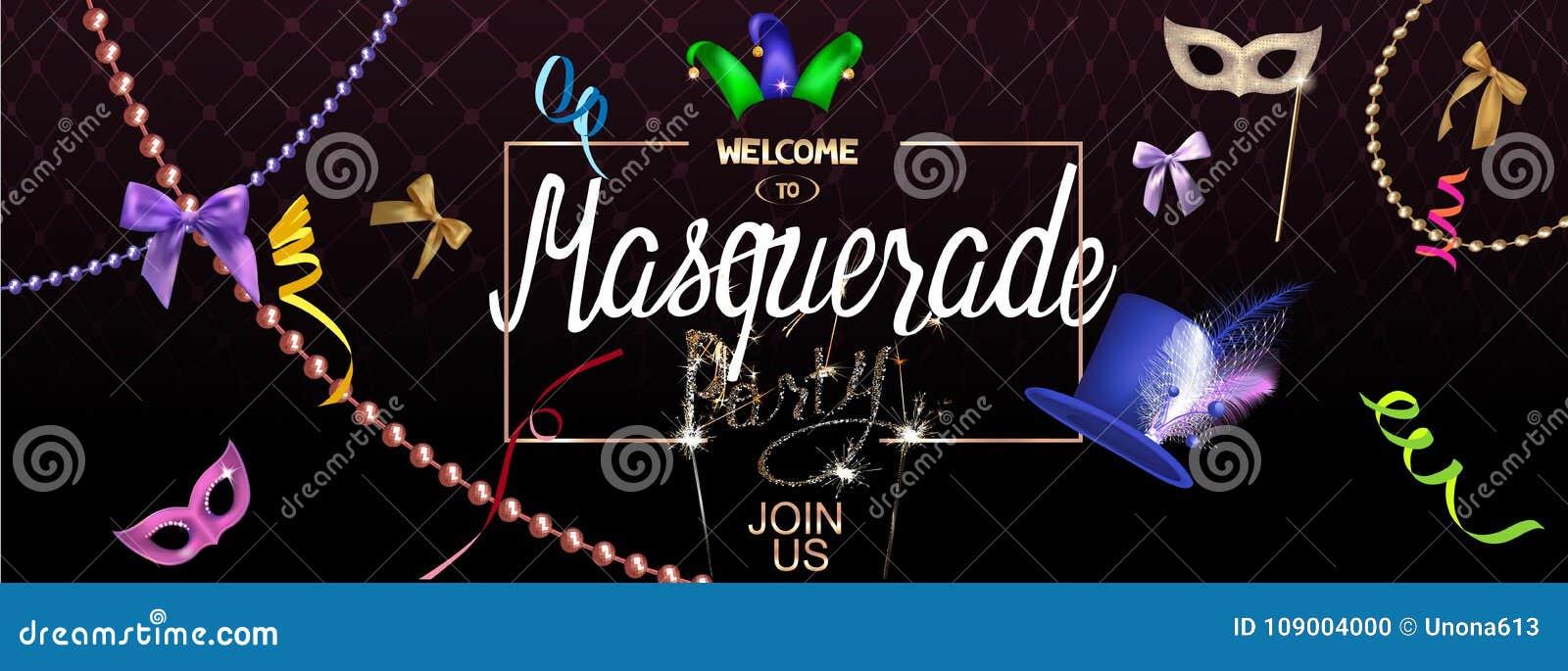 Masquerade Party Invitation Banner With Masquerade Specific Deco