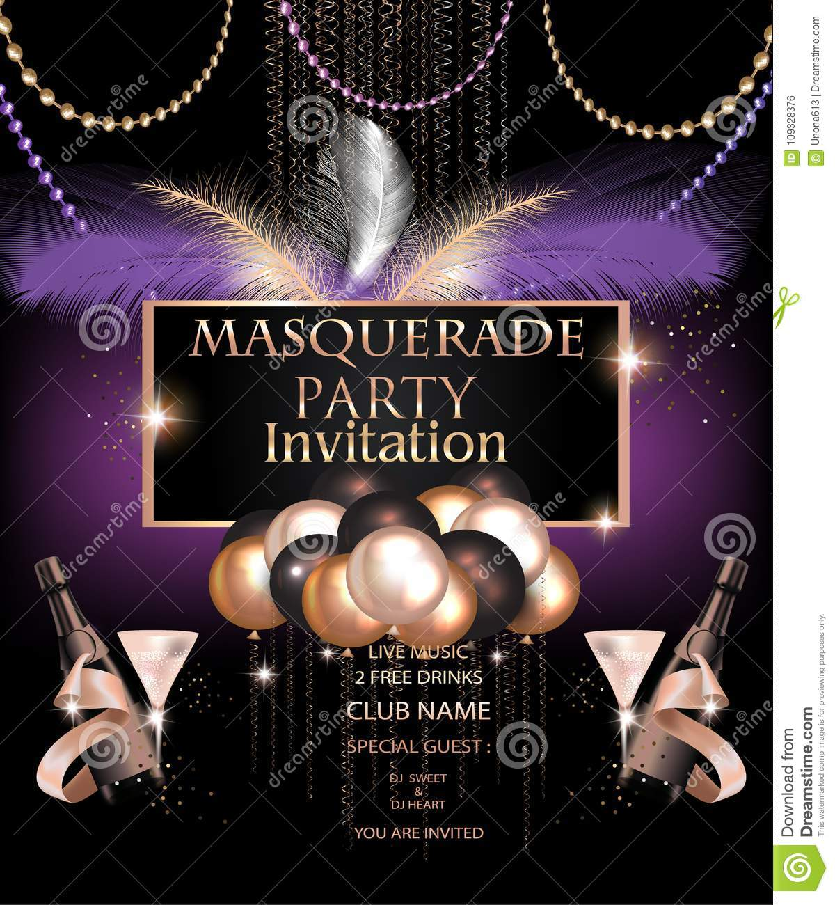 Masquerade Party Invitation Card With Carnival Party Deco Objects