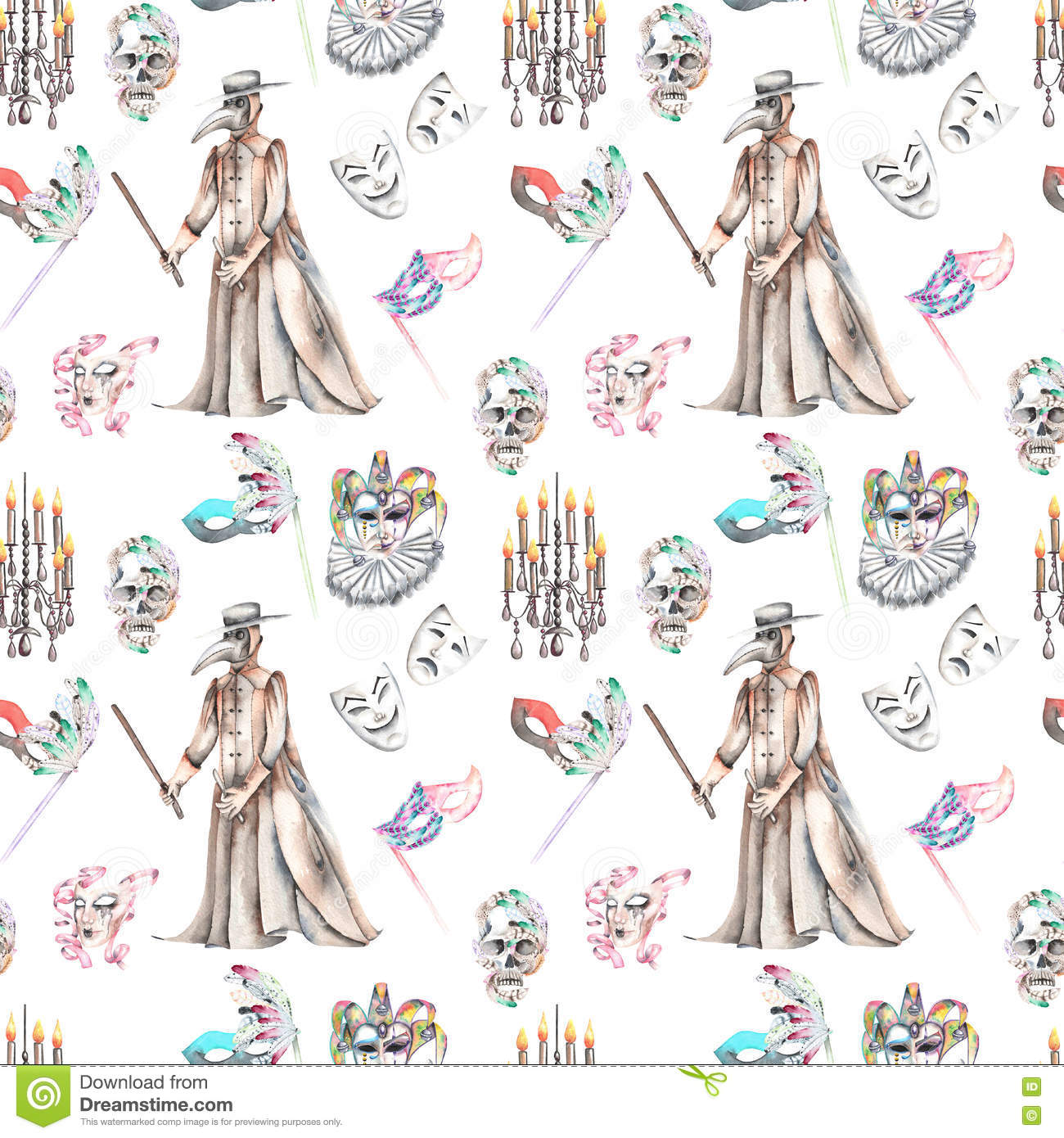 Masquerade Theme Seamless Pattern With Skulls Chandeliers With
