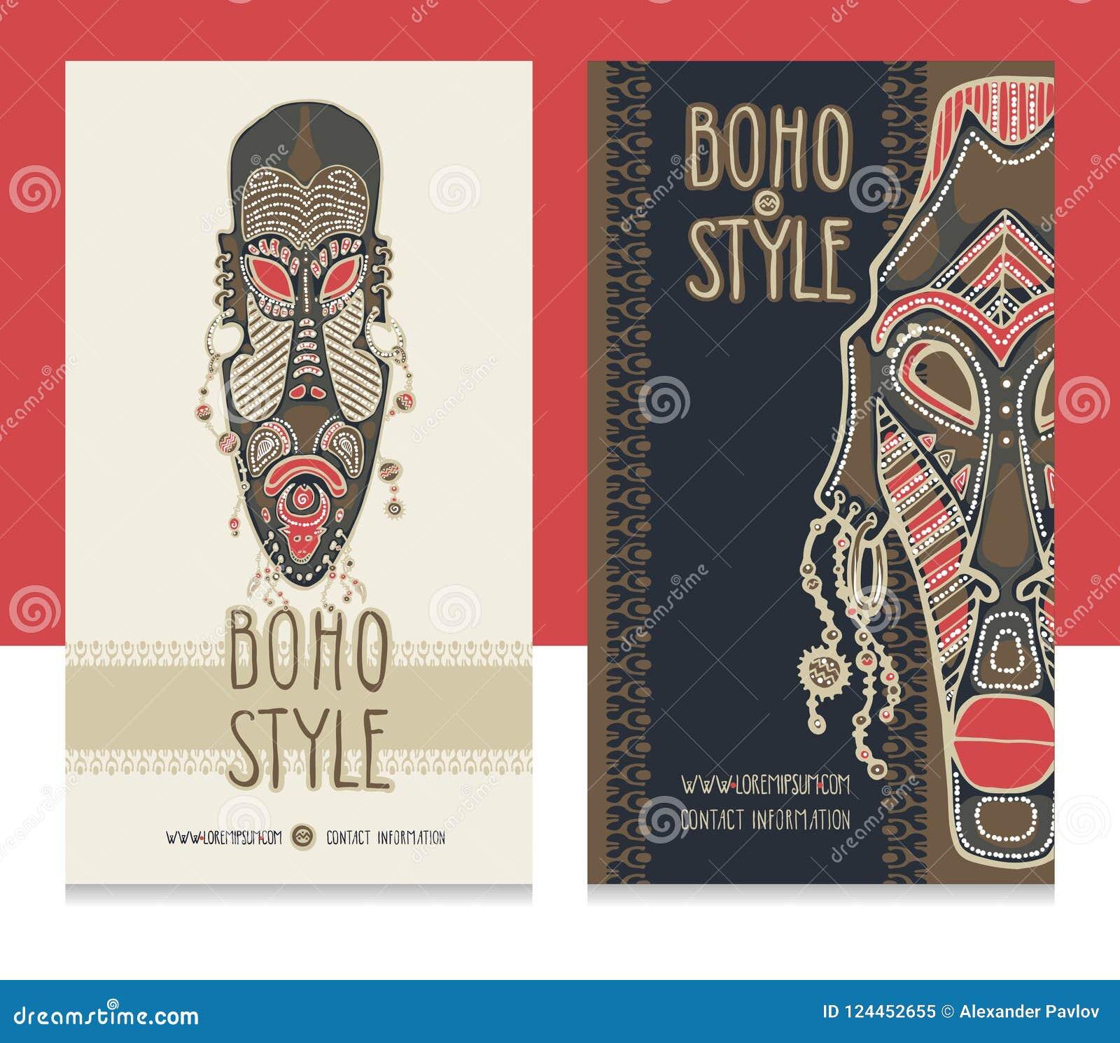 Masques Africains Traditionnels Calibre Ethnique De Carte Style Boutique Boho Cartes