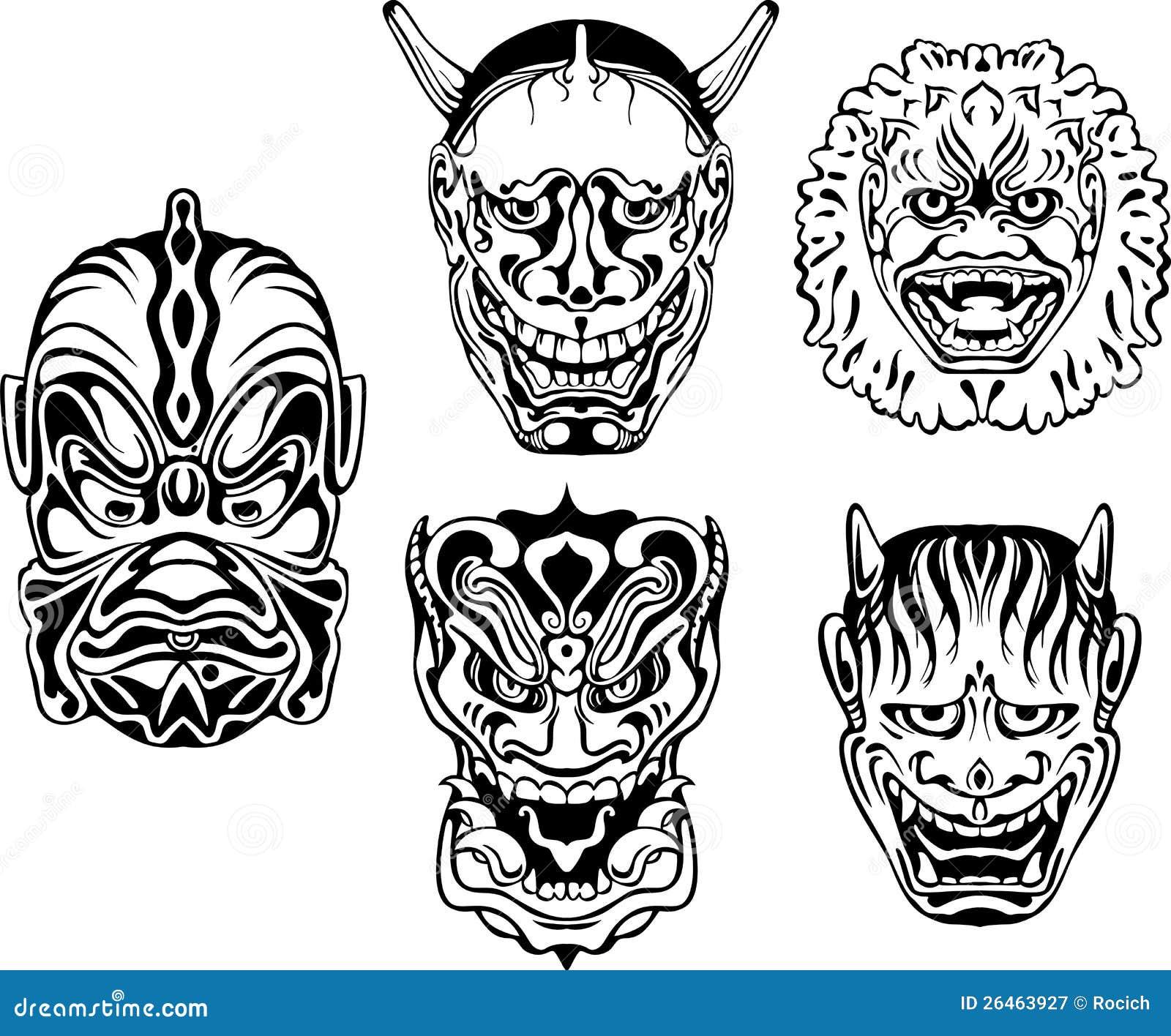 Et si on jouait!? (pv Isatsu) Masques-d%C3%A9moniaques-japonais-de-theatrical-de-noh-26463927
