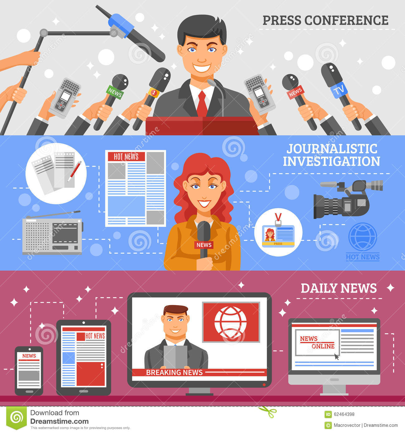 Mass Media Banners Set stock vector  Illustration of business - 62464398
