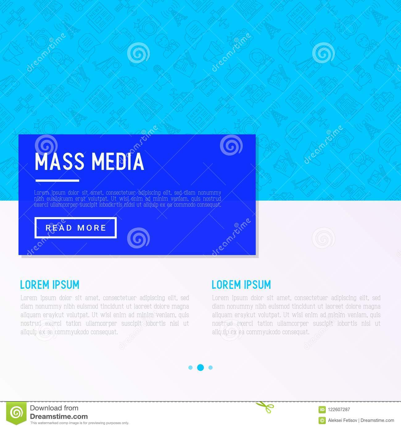 Mass media concept with thin line icons: journalist, newspaper,