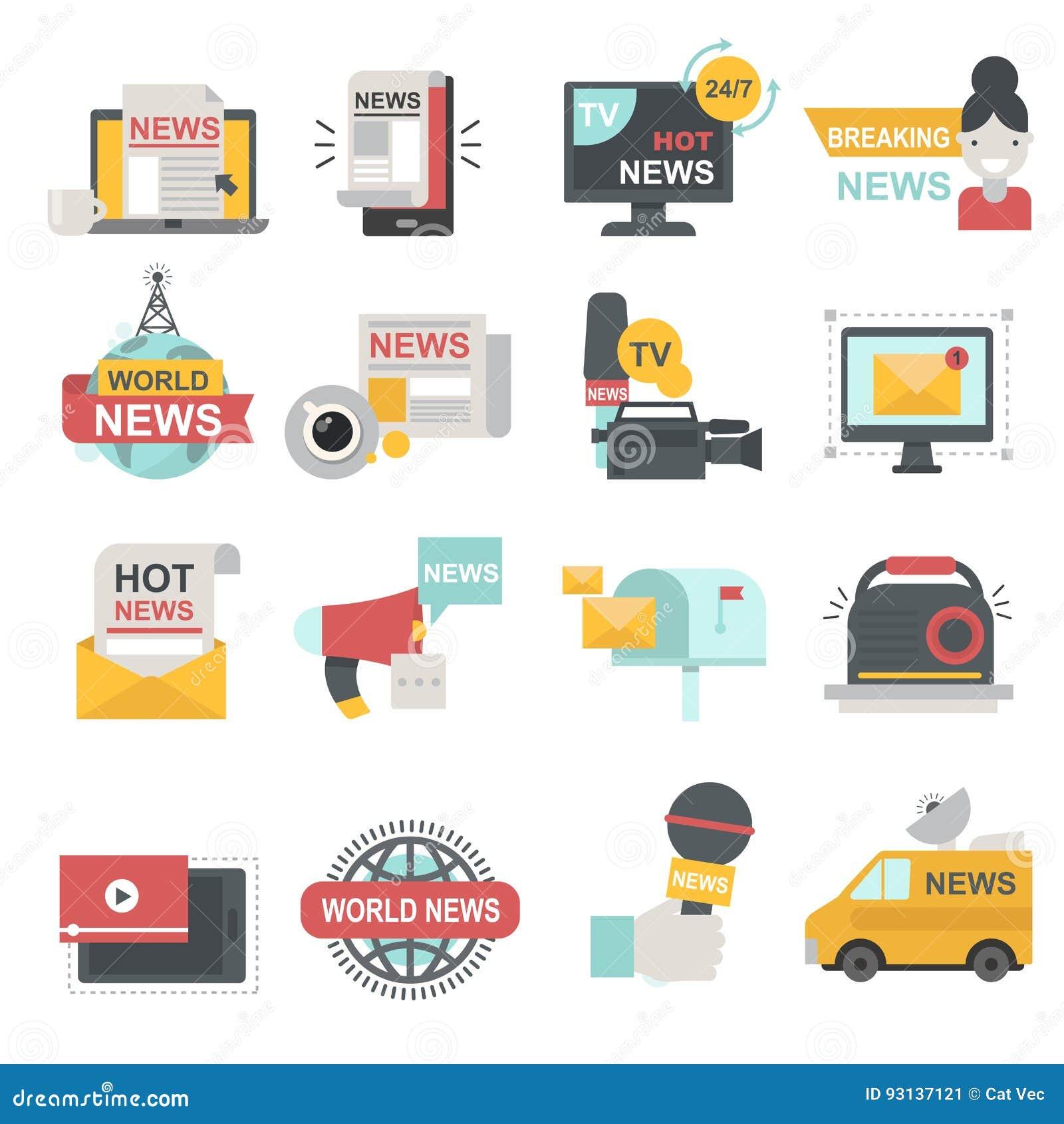 Mass media icons set with telecommunications radio beaking news broadcast TV or website symbols flat isolated vector