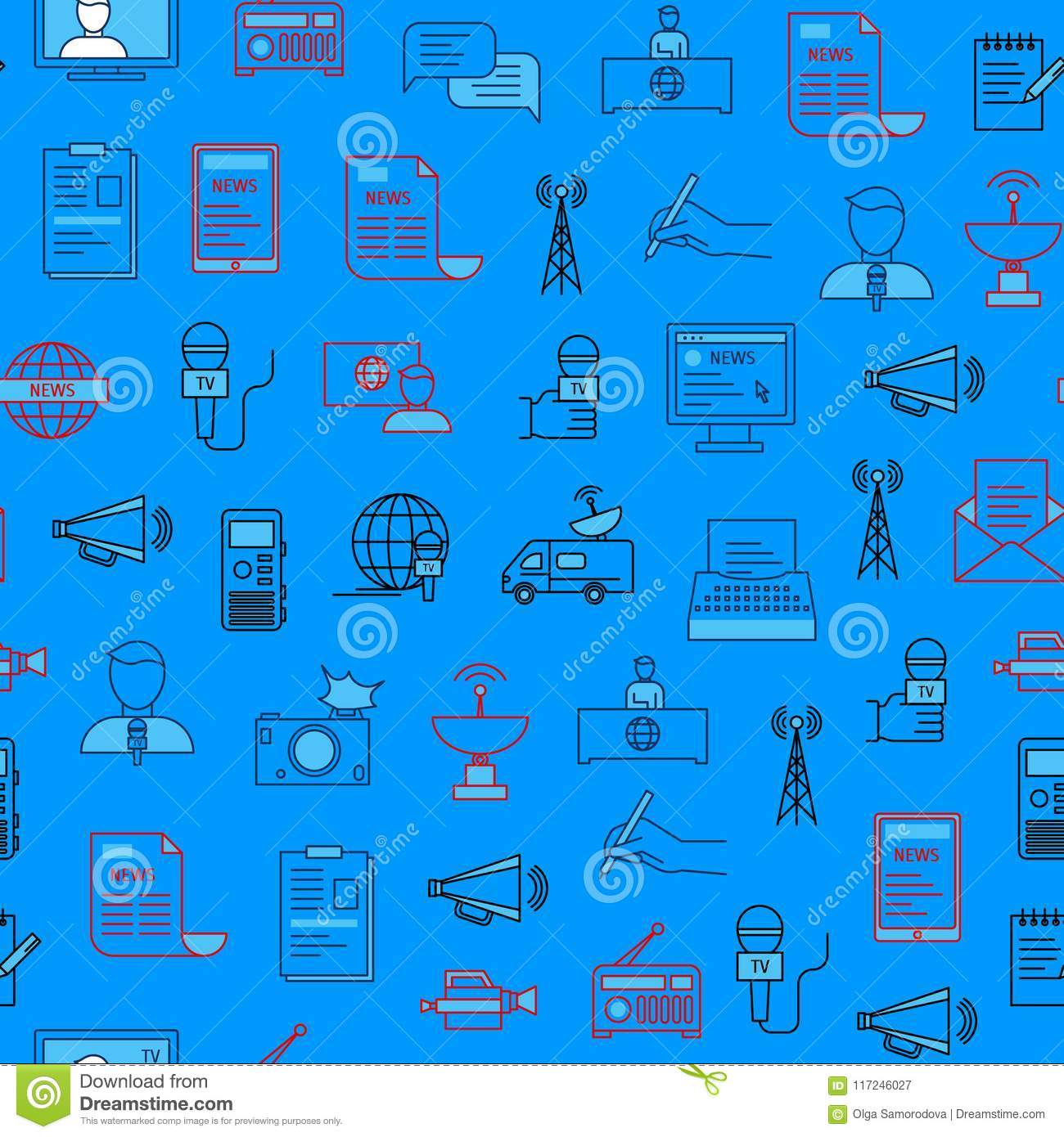 Mass Media and Journalism Seamless Pattern Background. Vector