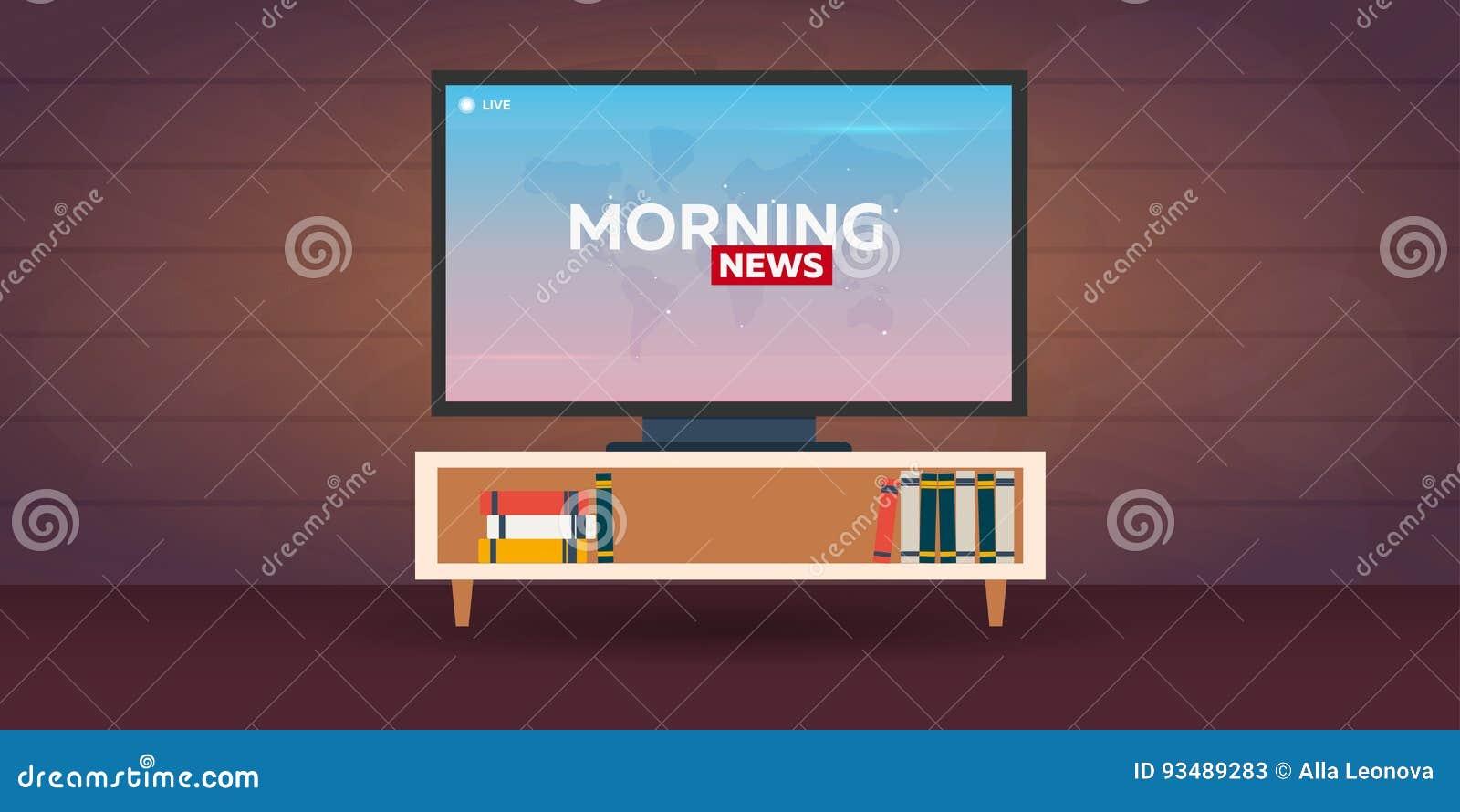 Mass Media  Morning News Banner  Live  TV Show  Stock Illustration