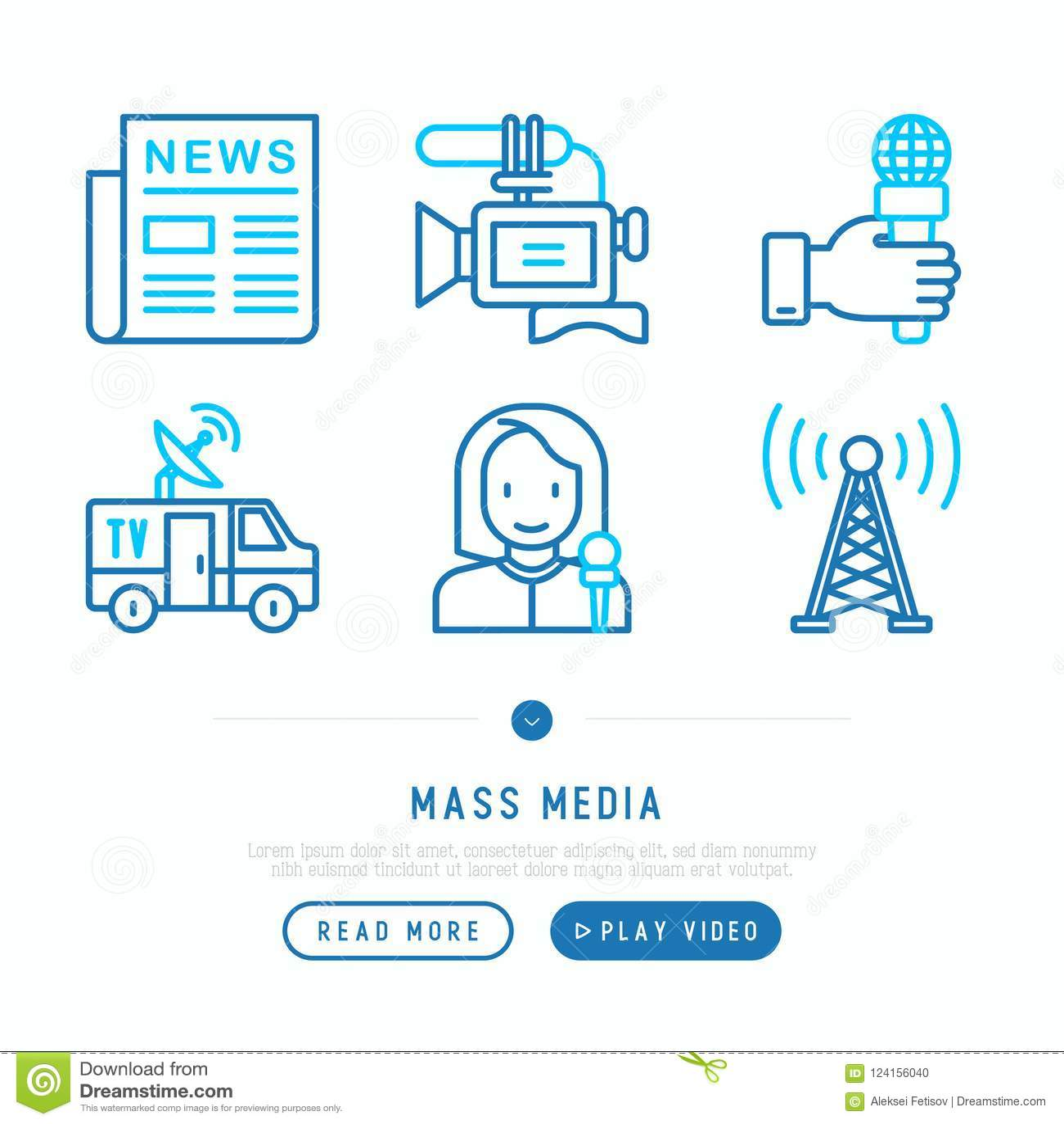 Mass media thin line icons set: newspaper, article, blog, report