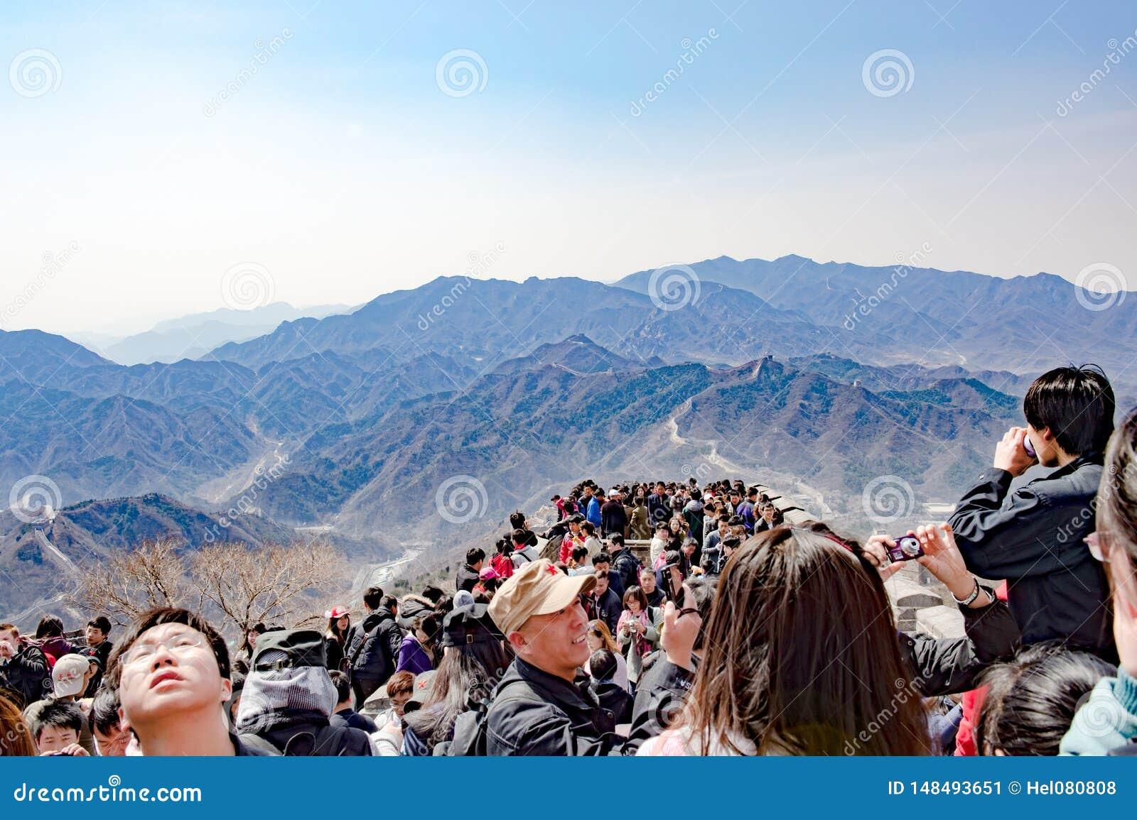 Mass tourism on Great Wall near Beijing, China