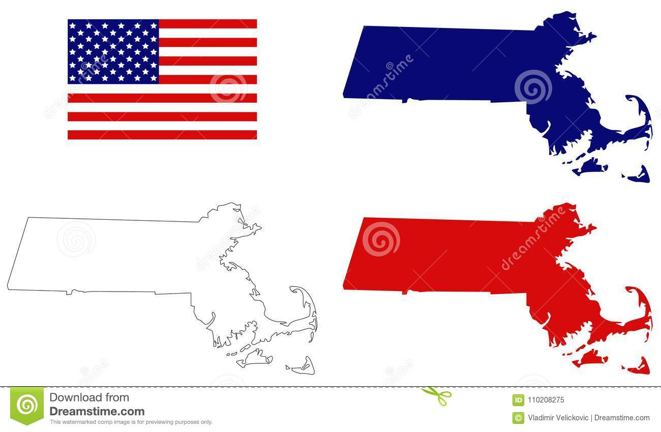 Map Of Usa And England.Massachusetts Map With Usa Flag State In The New England Region Of