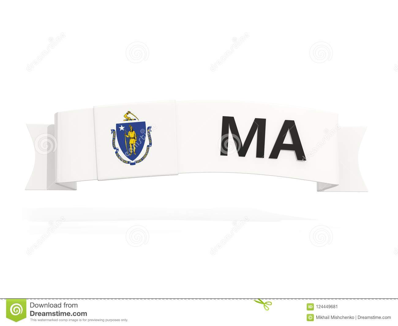 Download Massachusetts State Flag On Banner With Postal Abbreviation Isol Stock Illustration