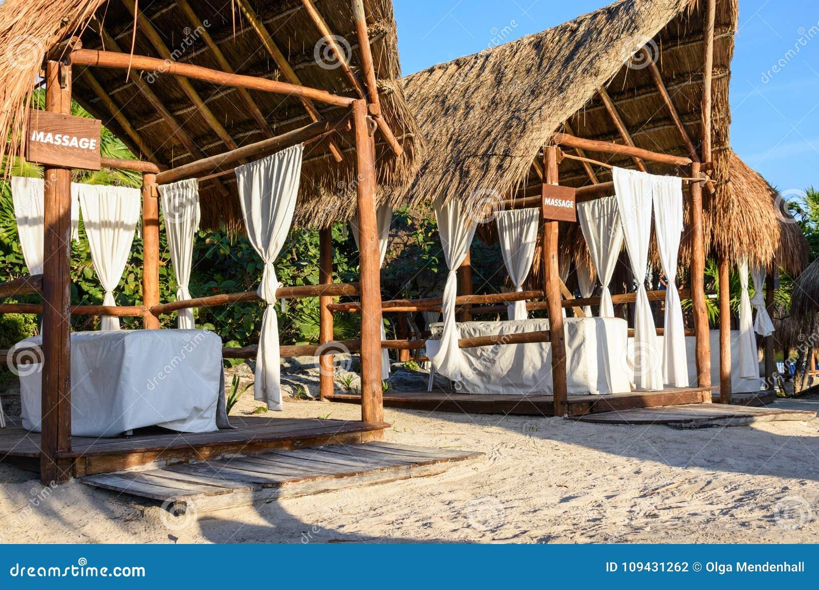 Massage canopies on the beach. Riviera Maya, Cancun, Mexico.