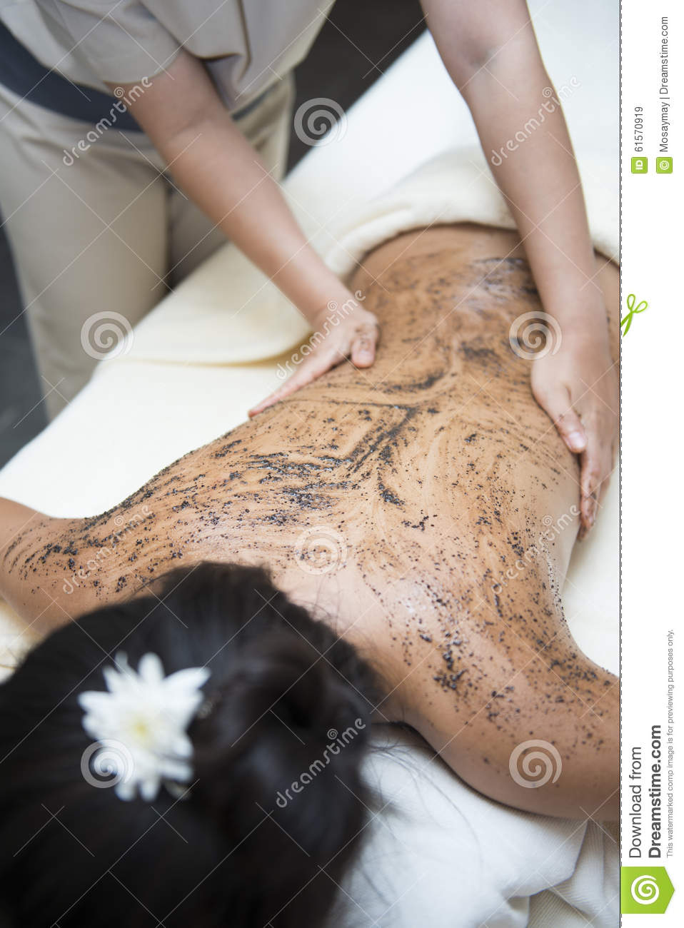 Massage With Coffee Scrub By Therapists, Stock Image ...