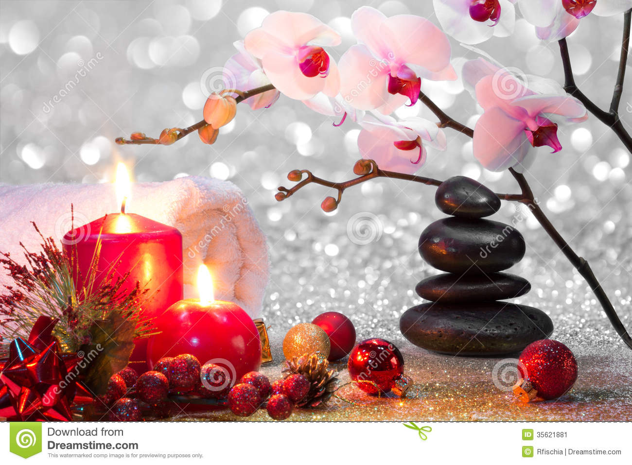 Massage Composition Christmas Spa With Candles, Orchids And Black ...