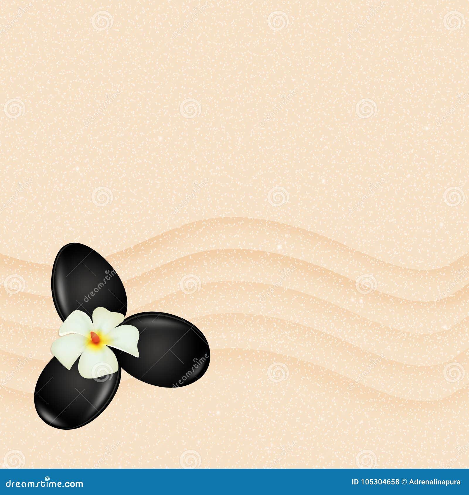 Massage en pierre sur le sable