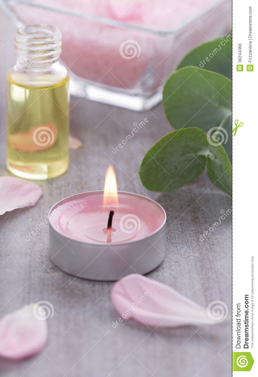 Massage Oil With Candle Spa Decoration Royalty Free