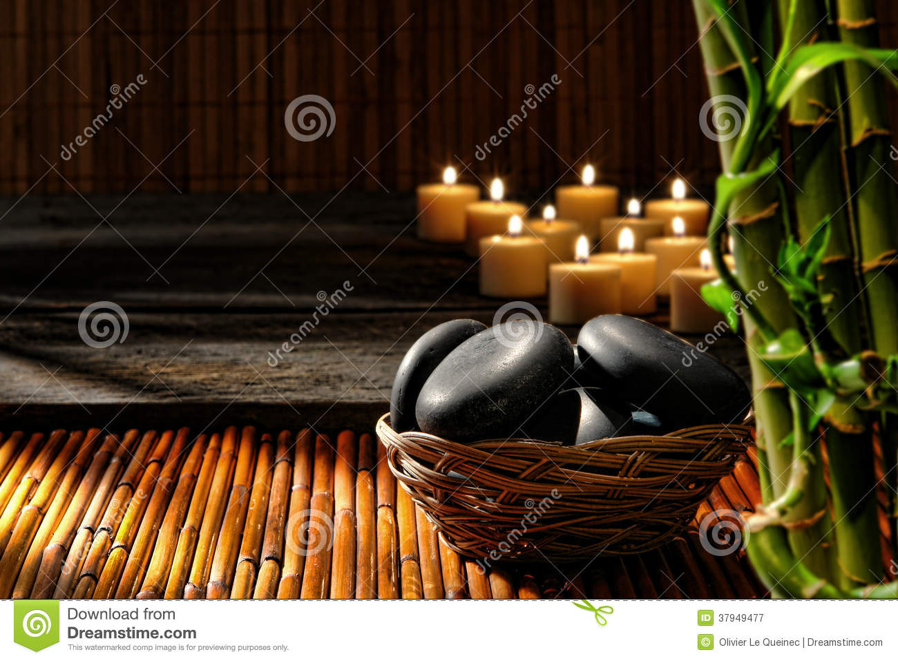 Massage Stones In Basket In Wellness Holistic Spa Stock