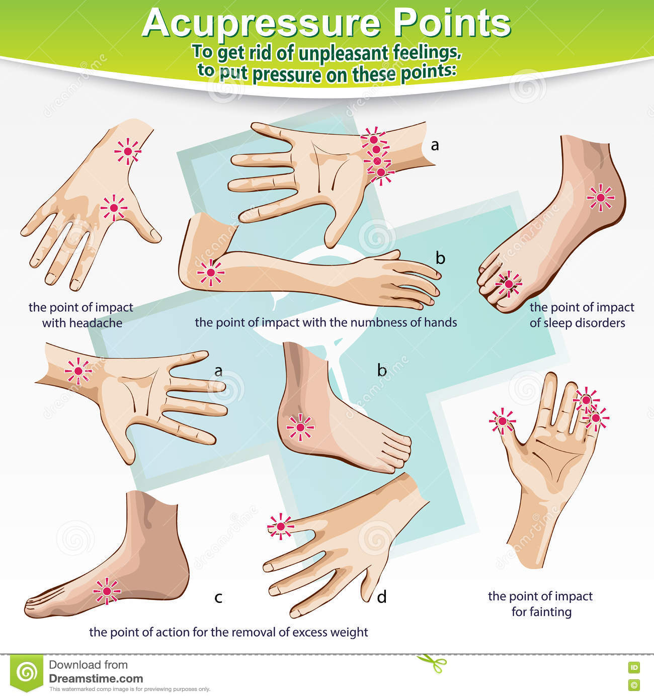 Massage Therapy Acupressure Points Stock Vector Illustration Of