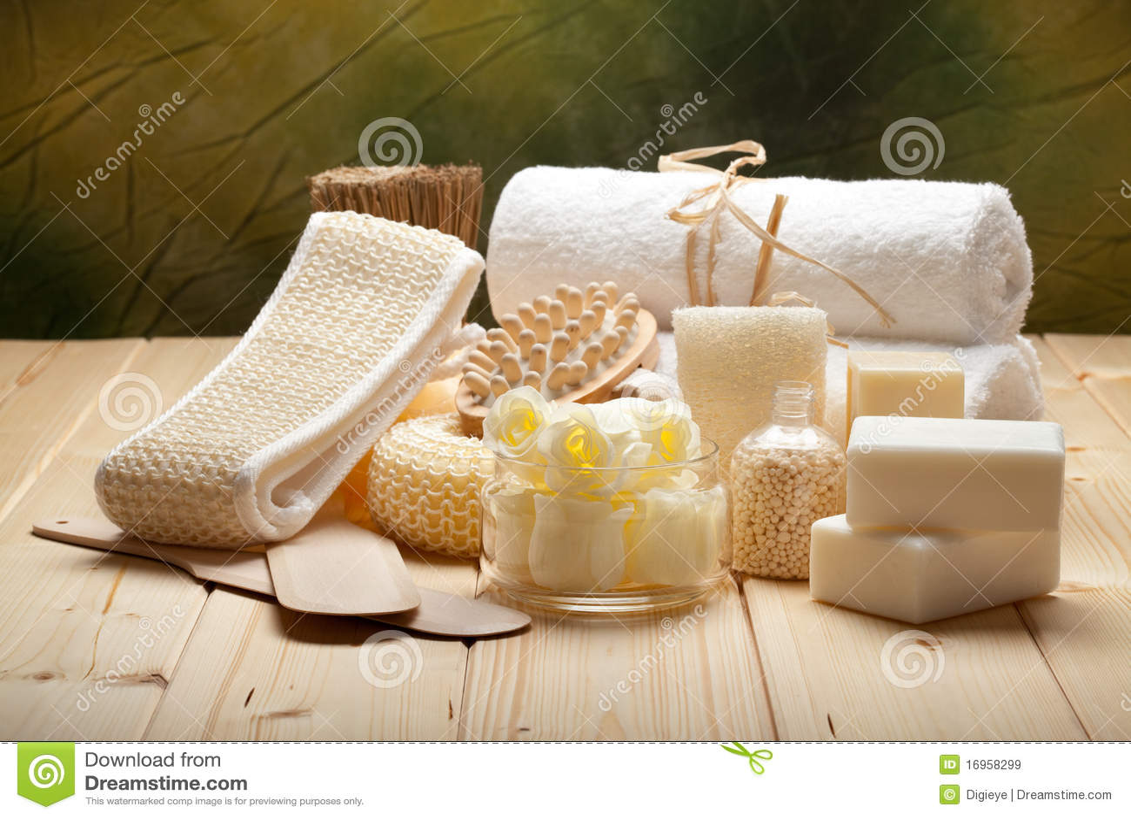 Massage Tools Soap Bath Salt And Towels Royalty Free