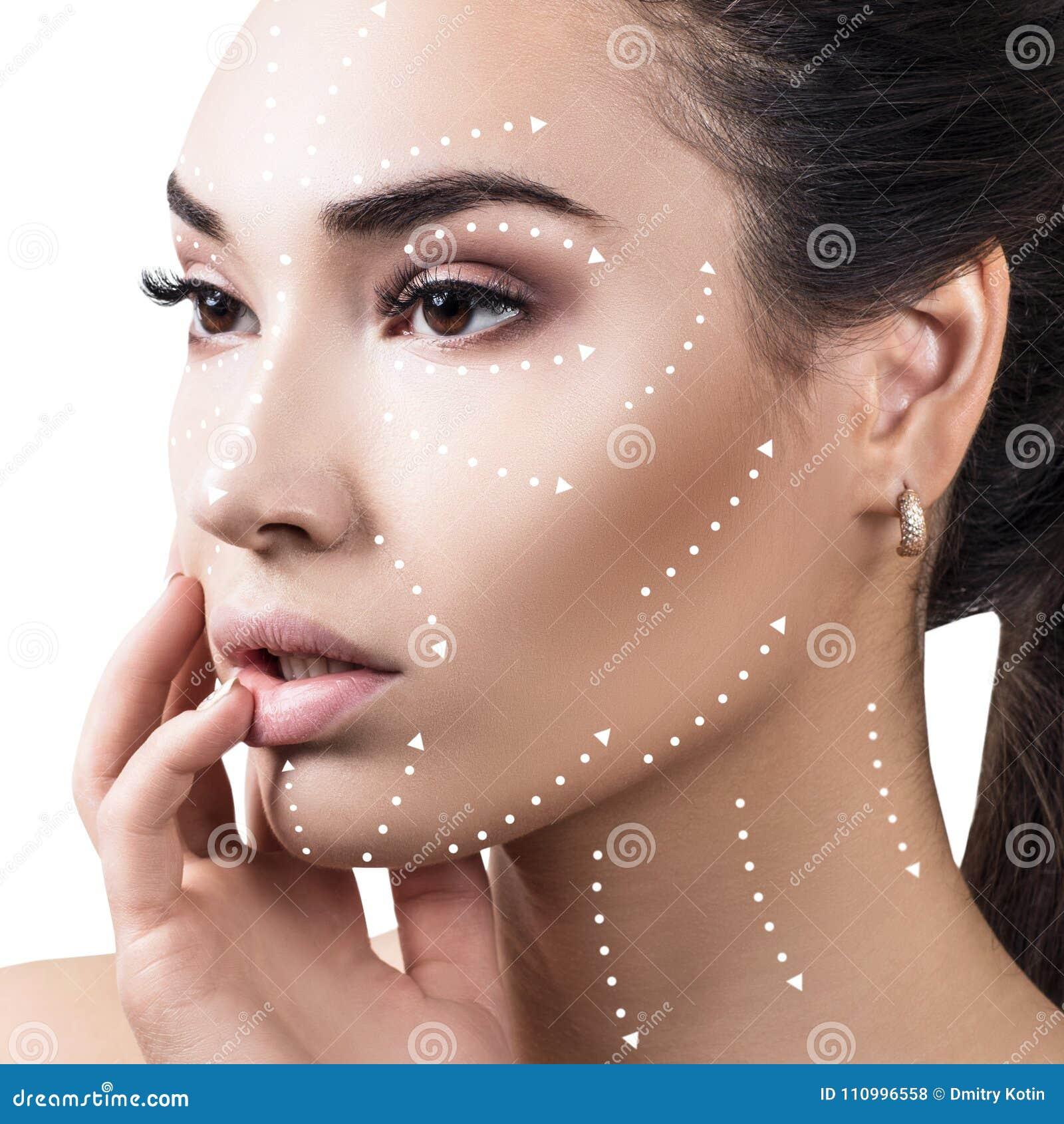 Massagelinjer på härlig kvinnlig framsida visar riktningar