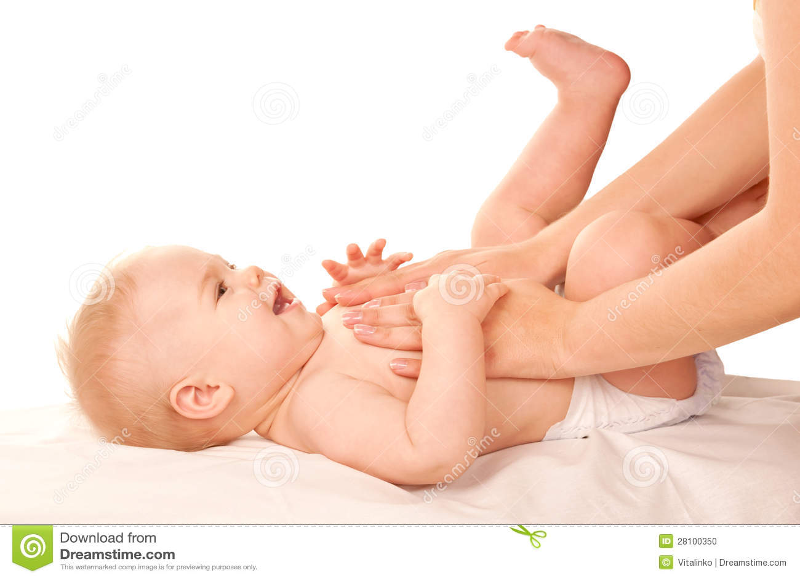 Massagem do bebê.