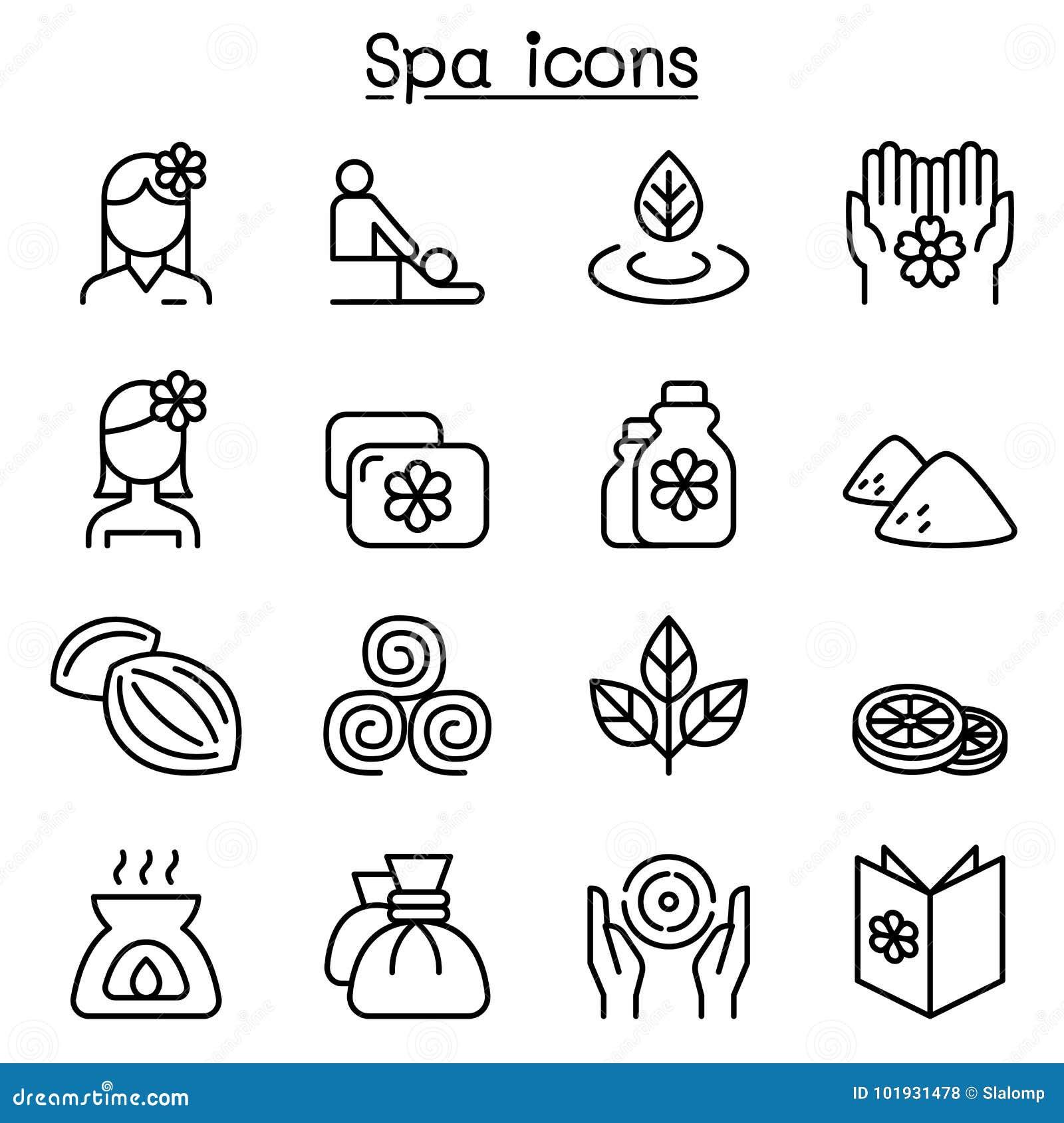 A massagem, os termas & o ícone da terapia da alternativa ajustaram-se na linha estilo fina