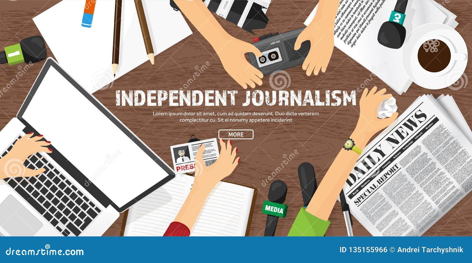 Massamediaachtergrond met microfoon in een vlakke stijl Persconferentie met correspondent en verslaggever broadcasting