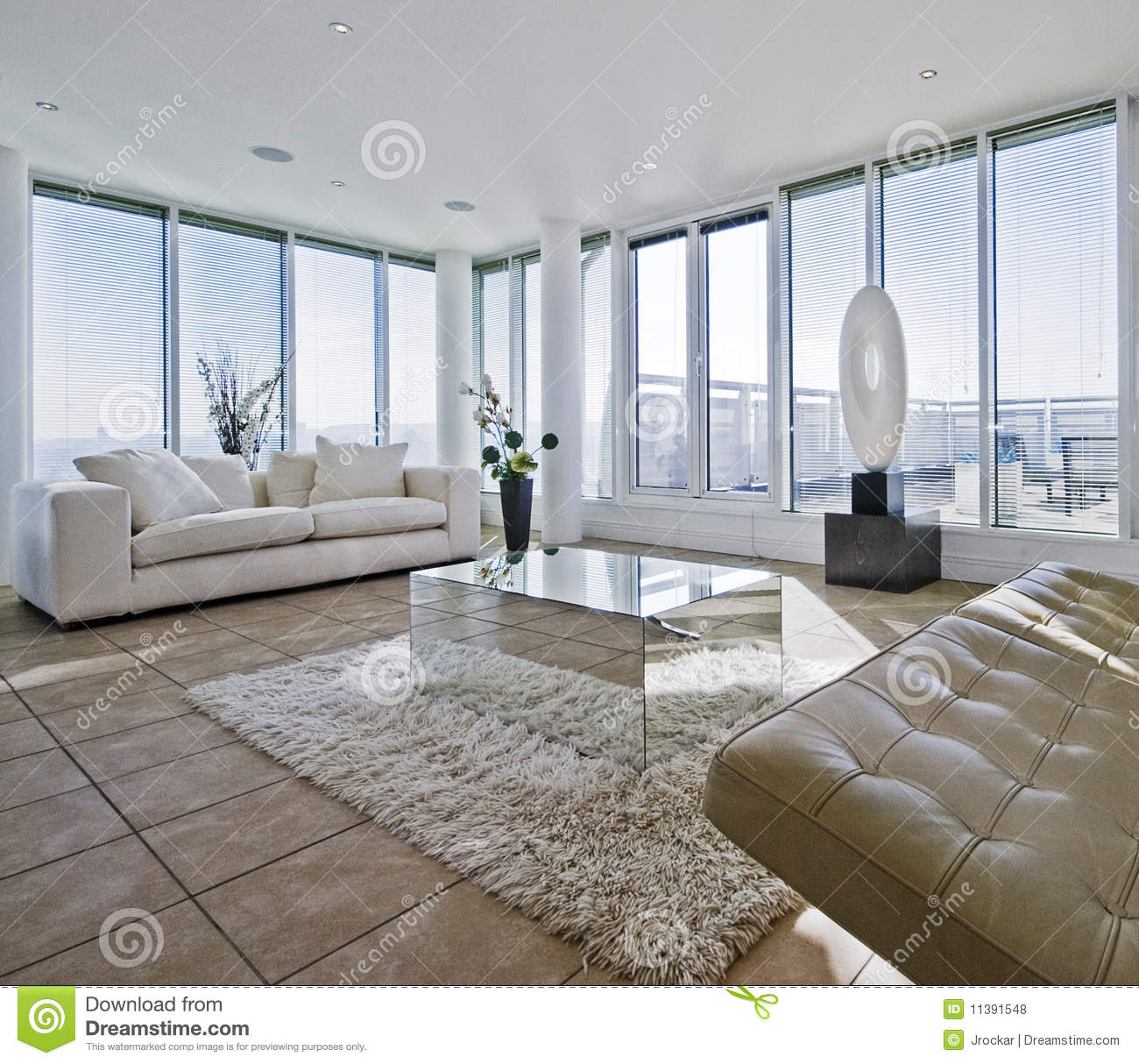 Massive Living Room With Chunky White Sofas Stock Photo