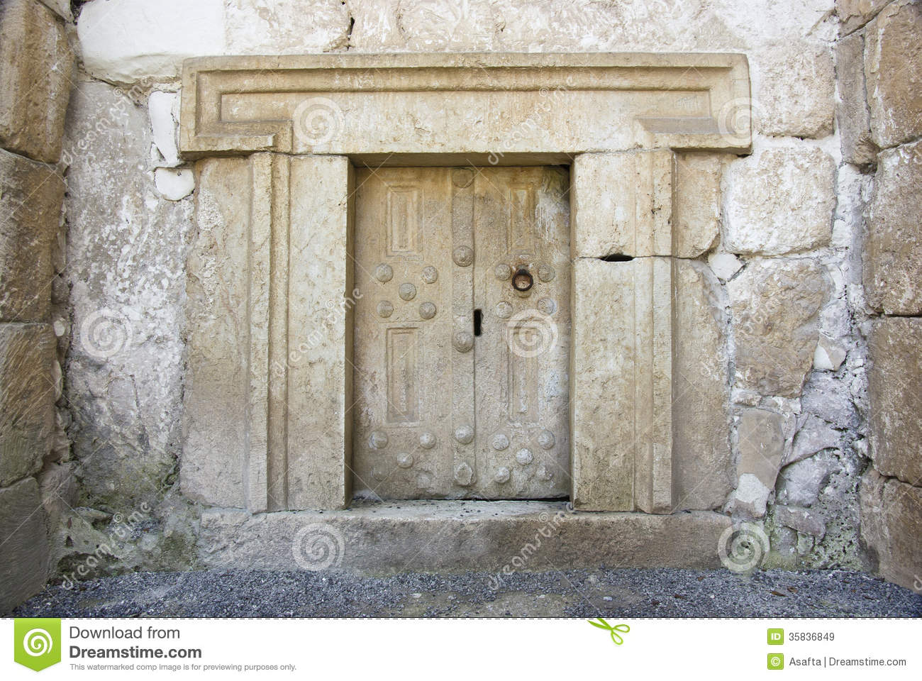 Massive Stone Door Stock Image Image Of House Burial