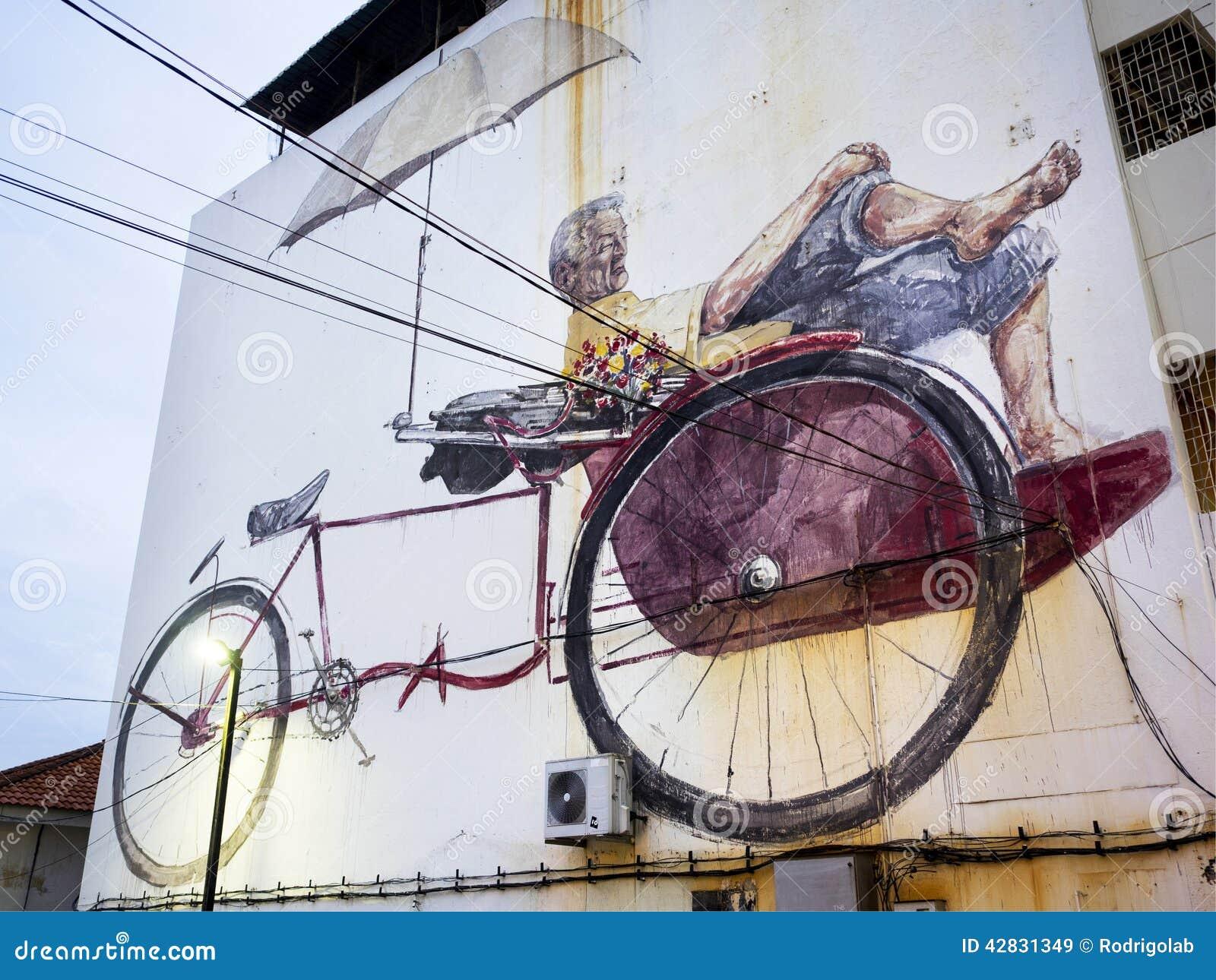 Massive street art mural in georgetown penang malaysia for Mural 1 malaysia negaraku